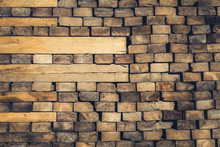 Background Of Stacked Wood Cut In   Squared Timber