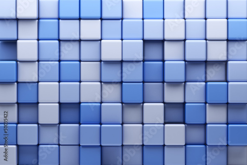 Abstract background of blue cubes. 3D Illustration