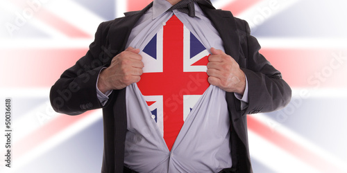 Photo  Business man with English flag t-shirt