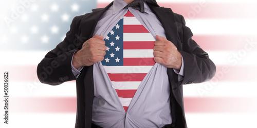 Photo  Business man with USA flag t-shirt