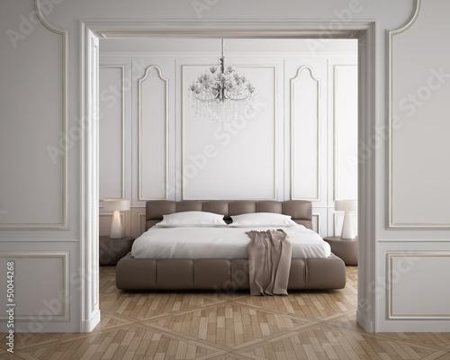 Photographie  Luxury minimal white bedroom with vintage wood floor