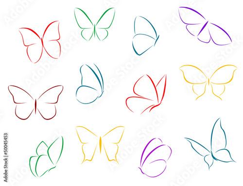 Fototapeta Butterflies color silhouettes