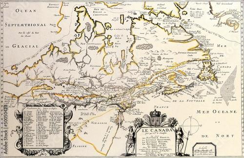 Deurstickers Retro Canada old map