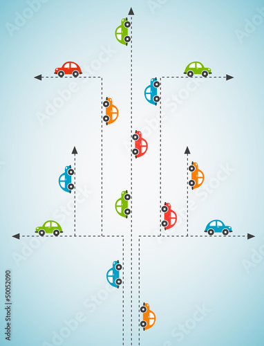 Poster de jardin Route Abstract background with color cars. Vector