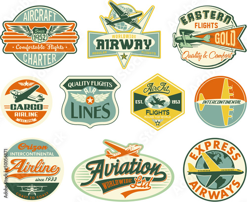 Aviation vector vintage labels collection Wallpaper Mural