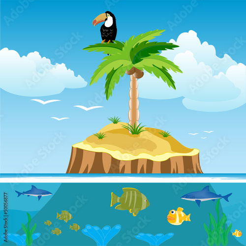 Poster Vogels, bijen Desert island and undersea world