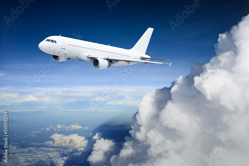 Airplane in the sky - Passenger Airliner / aircraft Canvas Print