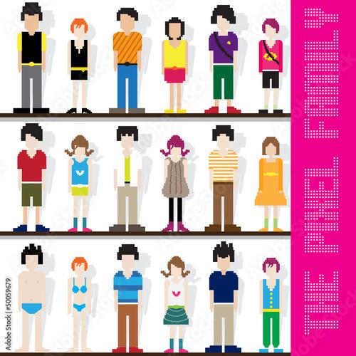 Foto op Aluminium Pixel Pixel Family Character