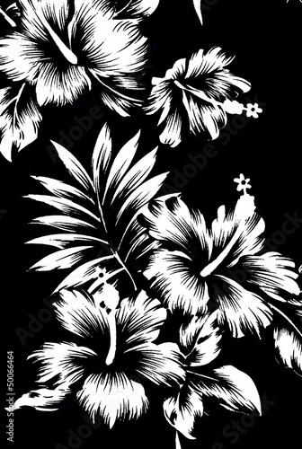 Hawajskie wzory, czarno-biały ton.