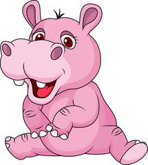 Cute hippo cartoon sitting