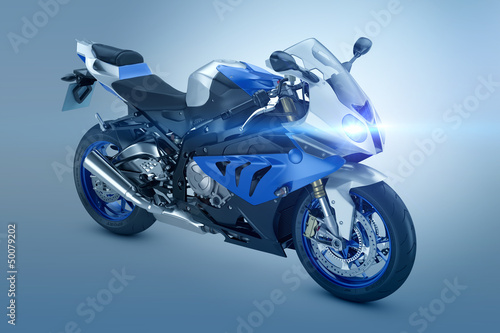 Poster Motorcycle Blue Sport Motorcycle