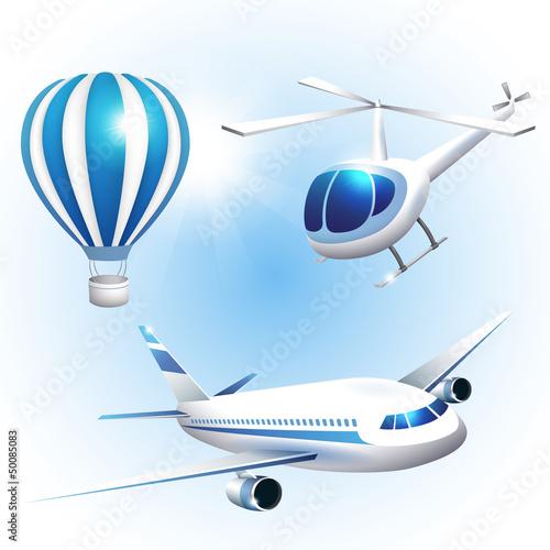 In de dag Vliegtuigen, ballon Set of icons transport