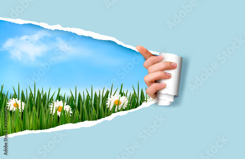 Fotobehang Lichtblauw Nature background with green grass and sky and ripped paper. Vec