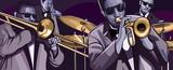 zespół jazzowy z trąbką trąbka kontrabas i bęben - 50087083