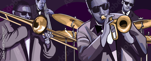 Poster Groupe de musique jazz band with trombonne trumpet double bass and drum