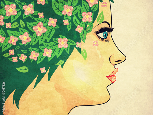Fototapety, obrazy: Girl with green hair and flowers