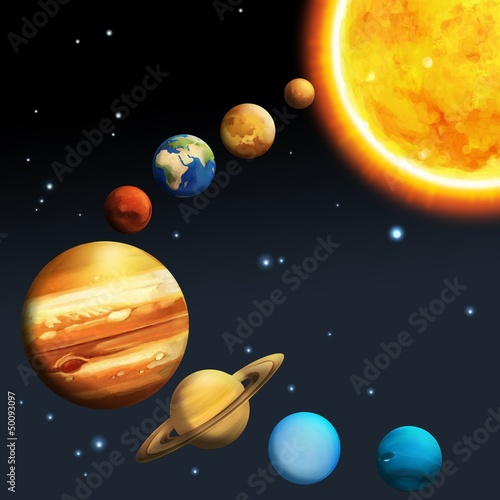Spoed Foto op Canvas Kosmos The solar system - milky way - astronomy for kids