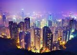 Hong Kong in der dunklen Nacht