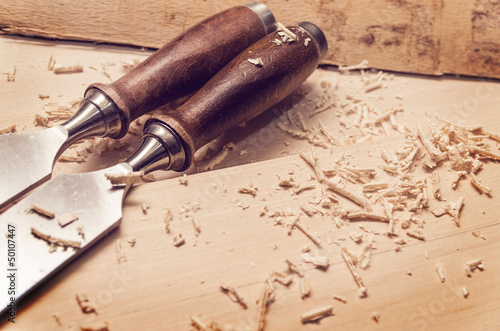 Chisels on wood Tablou Canvas