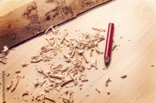 Fotografia, Obraz  Pencil on wood