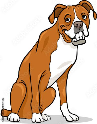 Poster Dogs boxer purebred dog cartoon illustration