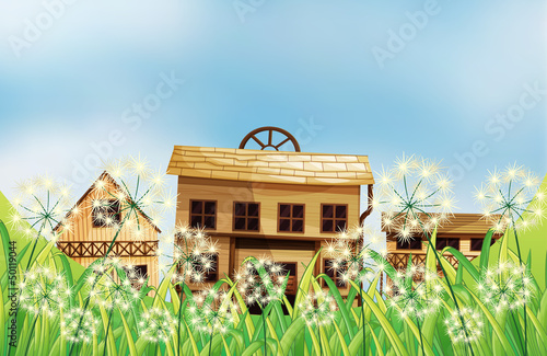 Aluminium Prints Wild West Three kinds of wooden houses