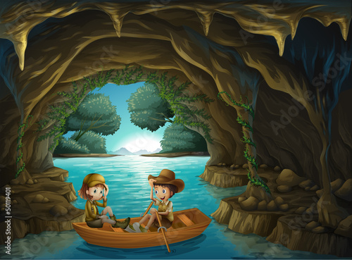 Canvas Prints River, lake A cave with two kids riding in a wooden boat