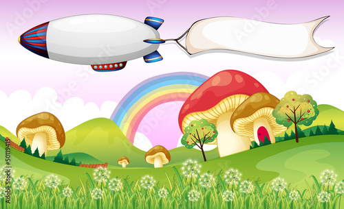 Printed kitchen splashbacks Magic world A blimp carrying an empty banner