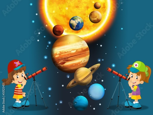 Cadres-photo bureau Cosmos The solar system - milky way - astronomy for kids