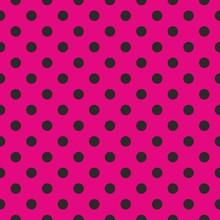 Seamless Vector Pattern Black Polka Dots Pink Background