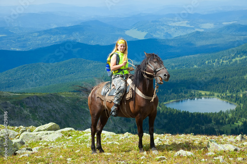 Poster Equitation Female rider on horseback
