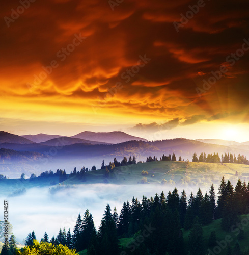 Poster Brown mountains landscape