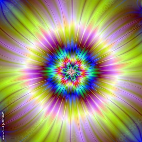 Photo Stands Psychedelic Star Burst In Yellow and Mauve