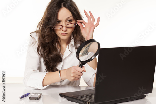 Photo  suspicious secretary did found something on her l