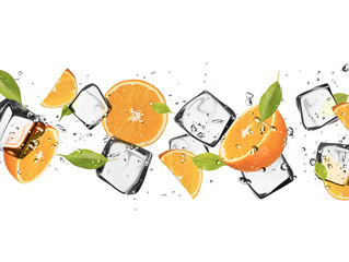 Panel Szklany Oranges with ice cubes, isolated on white background
