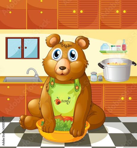 Fotobehang Beren A bear holding a bowl of vegetables inside the kitchen