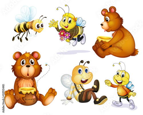 Ingelijste posters Beren Two bears and four bees
