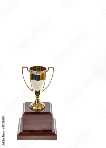 Blank Trophy cup on a wood stand - Buy this stock photo and