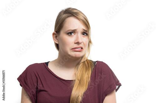 Photo  Junge Frau ist unzufrieden