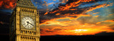 Fototapeta Londyn - Big Ben at sunset panorama, London