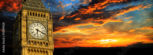 Foto op Canvas Londen Big Ben at sunset panorama, London