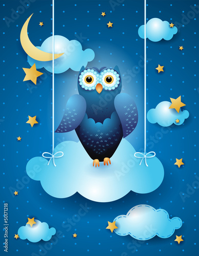 Recess Fitting Heaven Owl in the sky, fantasy illustration