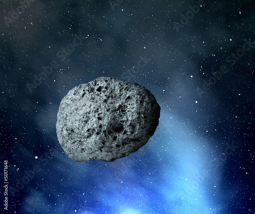 Photo large asteroid flying in the universe