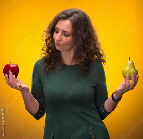 beauty brunette with apple and pear Poster