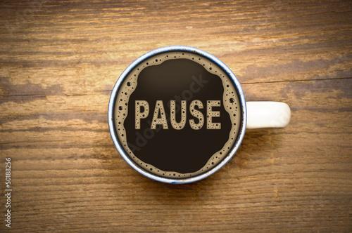 Fotografie, Obraz  Pause Kaffe Becher