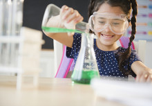 Girl Pouring Liquid In Chemistry Class