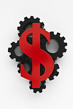 Dollar Sign On Top Of Cogs
