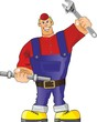 plumber with spanner and pipe
