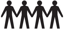 People Figures Holding Hands. Vector Images