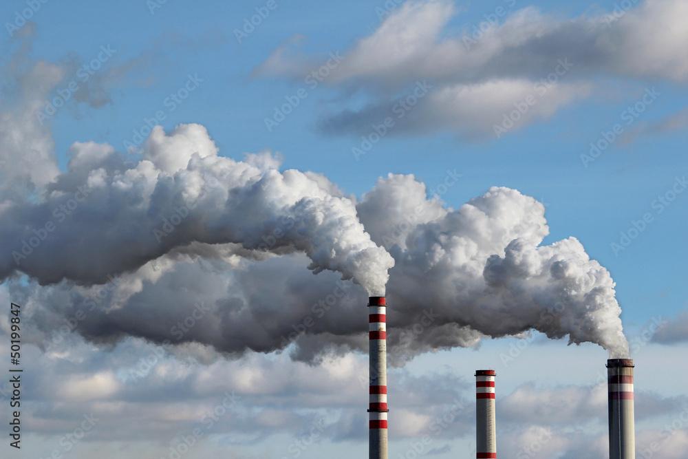 Fototapeta detail of white smoke polluted sky